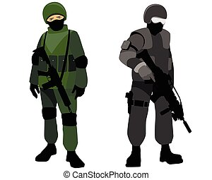 Special forces soldiers - Vector illustration of a special...
