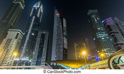 Downtown Dubai towers night timelapse hyperlapse. View of...