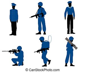 Six soldiers set - Vector illustration of a six soldiers set