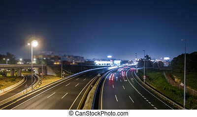 Expressway and fast plane time lapse at night - Rotating...