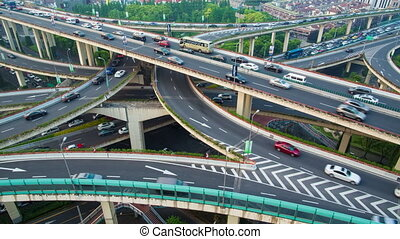 modern city road transportation - Shanghai city center...