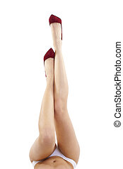 legs in high heel red shoes