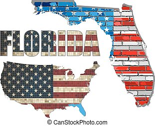 USA state of Florida on a brick wall - Illustration, The...