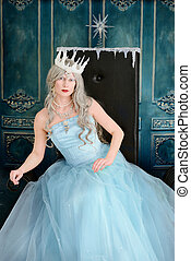 ice queen leaning on throne