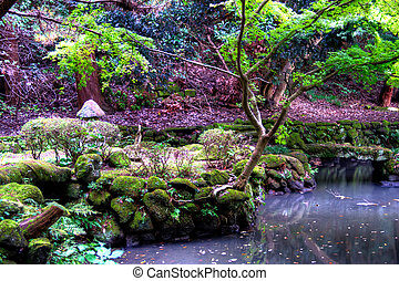 A pond in a Japanese garden with rocks and trees