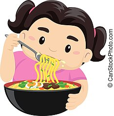 Girl eating noodles using fork - Vector Illustration of a...