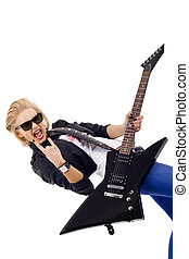 energic guitar player - picture of an energic blond girl...
