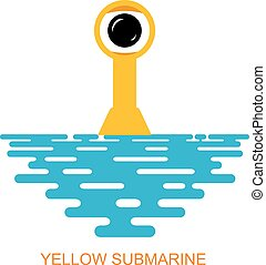 Periscope Yellow submarine with sea water on a white...