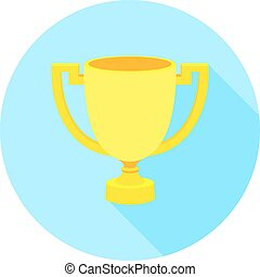 Simple flat icon gold cup winner with two handles on a pedestal. Vector cup isolate. Vector Icon prize winner of the