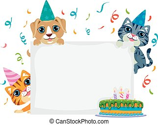 Pet Birthday in Blank Board - Vector Illustration of Pet...