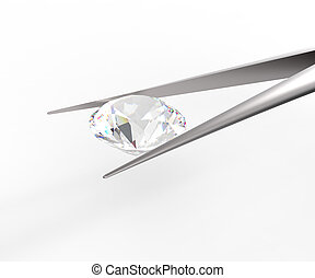 Pure white diamond in tweezers. 3D rendere - Pure white...