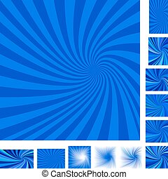 Blue spiral background set - Blue vector spiral design...