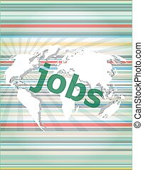 The word jobs on digital screen, social concept vector quotation marks with thin line speech bubble. concept of citation, info, testimonials, notice, textbox