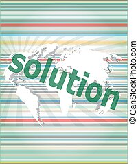 The word solution on digital screen, business concept vector quotation marks with thin line speech bubble. concept of citation, info, testimonials, notice, textbox