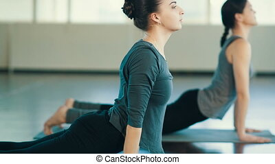 Young women doing exercise - Two Young women do yoga indoors