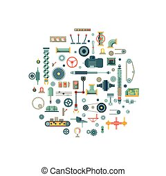 Machine parts flat vector icons in circle composition....