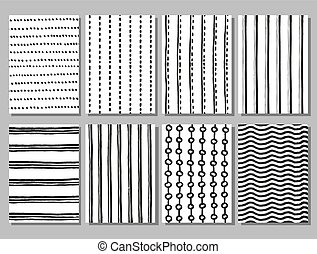 Grunge striped and dotted vector hand drawn patterns