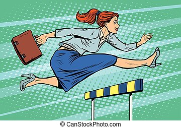 businesswoman running hurdles pop art retro style. A woman...