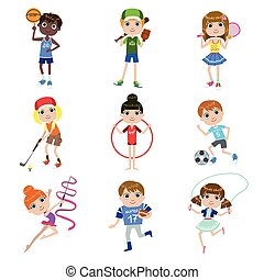 Kids Doing Sports Set Of Simple Design Illustrations In Cute...