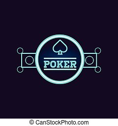 Round Blue Poker Neon Sign Las Vegas Style Illumination...