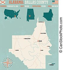 Dallas County in Alabama USA - Large and detailed map and...