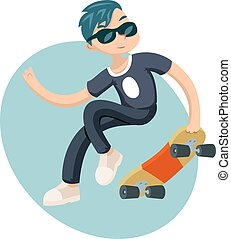 Cartoon Hipster Geek Scater Jump Skateboard Summer Character Icon on Stylish Background Design Vector Illustration