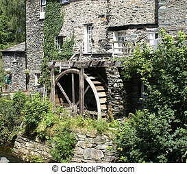 Waterwheel in country setting