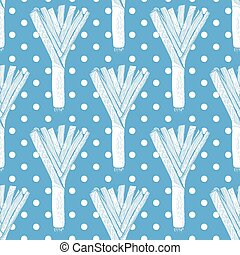 Leeks with polka dots, vector seamless pattern