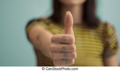 Showing A Sign Of Thumbs Up - Thumbs Up Agree Hands Sign...