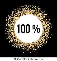 Golden Frame - Golden Circle Frame on Black Background with...