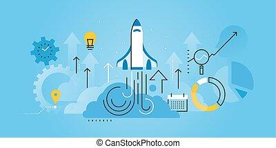 Business startup - Flat line design website banner of...
