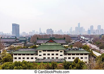 downtown Nanjing - Nanjing with traditional architecture and...