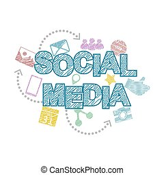 Social media cartoon caption with media icons Vector...