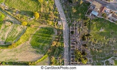 Tourist spot around the Apollo Temple, aerial, 4k. Tilt view...