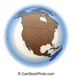 North America on light Earth - North America on 3D model of...