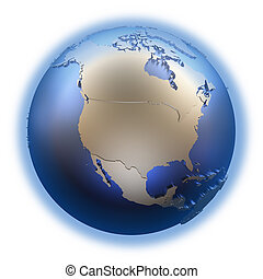 North America on golden metallic Earth - North America on...