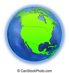 North America on green Earth - North America on elegant...