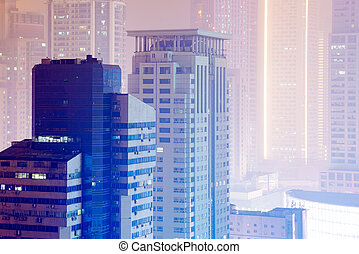 Nanjing buildings at night - Polluted city view at night in...