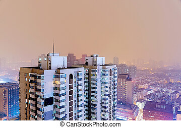 buildings in Nanjing at night