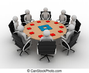 3d businessmen around table and puzzle pieces in front of them