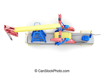 Oil rig pump-jack isolated on white background. Top view. 3d ren