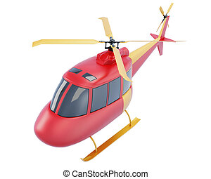 Toy red helicopter isolated on white background. 3d render...