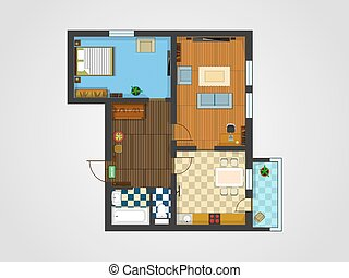apartment plan - the layout of the apartment with furniture...