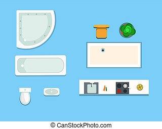 a set of furniture for bathroom and kitchen