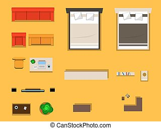 a set of furniture - vector set of furniture for bedroom...