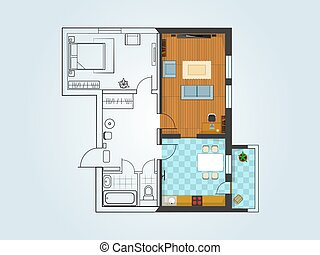 the layout of the apartment with furniture The view from the...