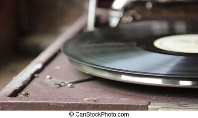 Old gramophone and vinyl disc - Vintage turntable vinyl...