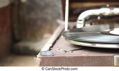 Music text and old gramophone - Music text and vintage...
