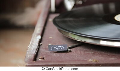 Listen text and old gramophone - Listen text and vintage...
