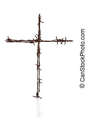 Barbwire cross isolated over white - Religious war Rusty...